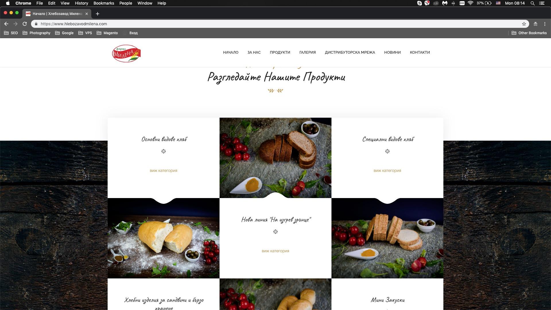 Изработка уебсайт за хлебозавод Милена
